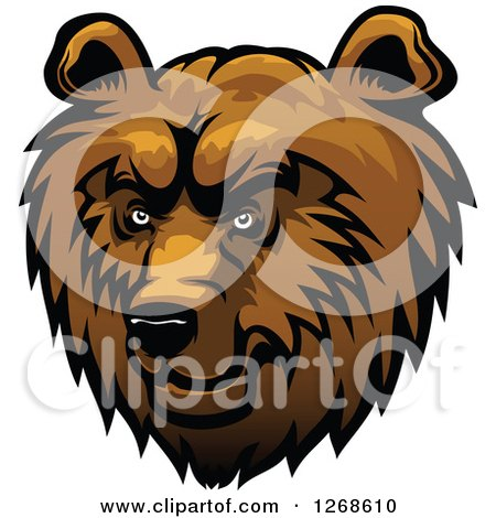 Clipart of a Brown Fierce Bear Head - Royalty Free Vector Illustration by Vector Tradition SM