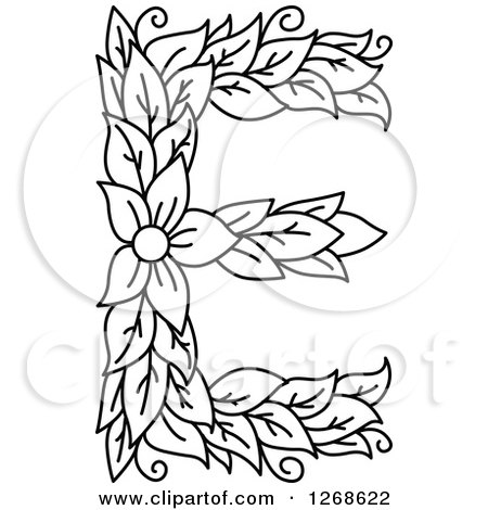clipart of a black and white floral capital letter e with a flower royalty free vector illustration by vector tradition sm