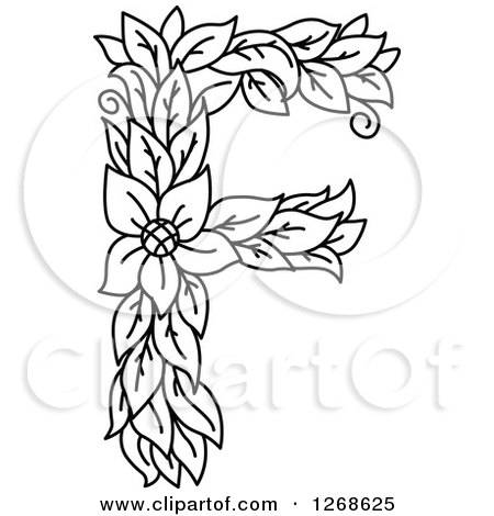 Clipart of a Black and White Floral Capital Letter F with a Flower - Royalty Free Vector Illustration by Vector Tradition SM
