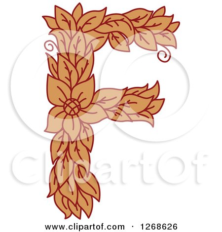 Clipart of a Floral Capital Letter F with a Flower - Royalty Free Vector Illustration by Vector Tradition SM