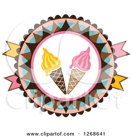 Clipart of Round Colorful Ice Cream Cone Badge - Royalty Free Vector Illustration by Vector Tradition SM