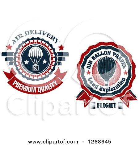 Clipart of Air Drop and Hot Air Balloon Designs - Royalty Free Vector Illustration by Vector Tradition SM