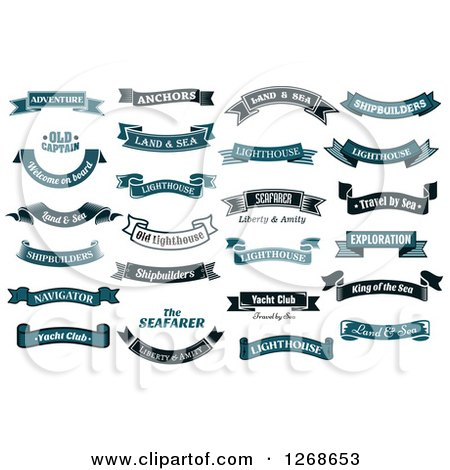 Clipart of Navy Blue Banners with Nautical Sample Text ...