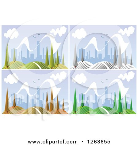 Clipart of a Hilly Landscape with Trees and City in the Distance Shown in All Four Seasons - Royalty Free Vector Illustration by Vector Tradition SM