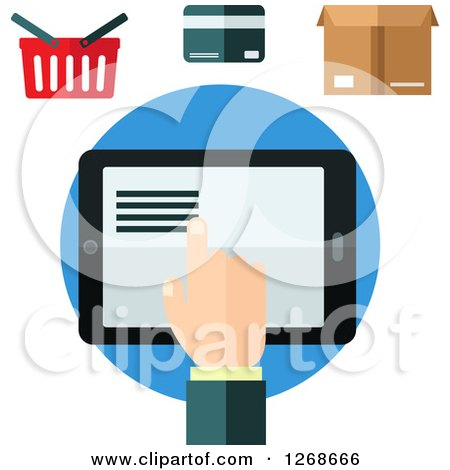 Clipart of a Hand Using a Tablet Under a Shopping Basket, Credit Card and Box - Royalty Free Vector Illustration by Vector Tradition SM