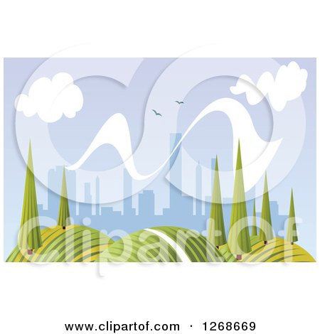 Clipart of a Hilly Summer Landscape with Trees and City in the Distance - Royalty Free Vector Illustration by Vector Tradition SM