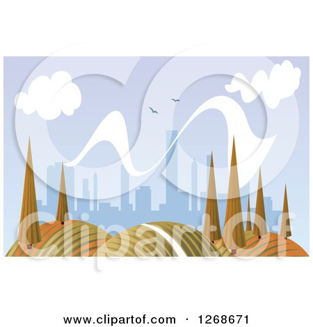 Clipart of a Hilly Autumn Landscape with Trees and City in the Distance - Royalty Free Vector Illustration by Vector Tradition SM