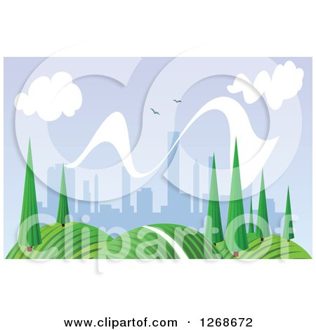 Clipart of a Hilly Spring Landscape with Trees and City in the Distance - Royalty Free Vector Illustration by Vector Tradition SM
