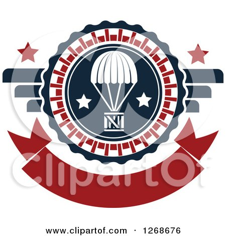 Clipart of a Red White and Blue Airdrop Crate and Parachute and Stars Design - Royalty Free Vector Illustration by Vector Tradition SM