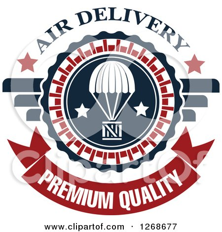 Clipart of a Red White and Blue Airdrop Crate and Parachute Air Delivery Premium Quality Design - Royalty Free Vector Illustration by Vector Tradition SM