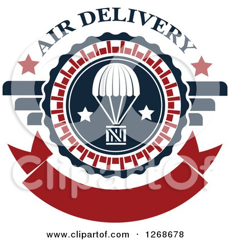 Clipart of a Red White and Blue Airdrop Crate and Parachute Air Delivery Design - Royalty Free Vector Illustration by Vector Tradition SM