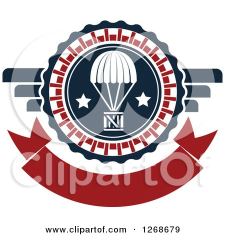 Clipart of a Red White and Blue Airdrop Crate and Parachute Design - Royalty Free Vector Illustration by Vector Tradition SM