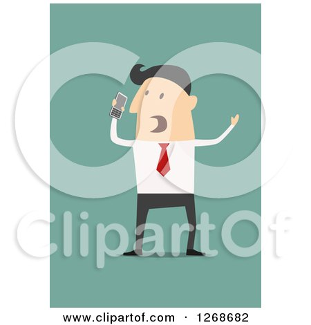 Clipart of a Mad Business Man Shouting into a Cell Phone - Royalty Free Vector Illustration by Vector Tradition SM