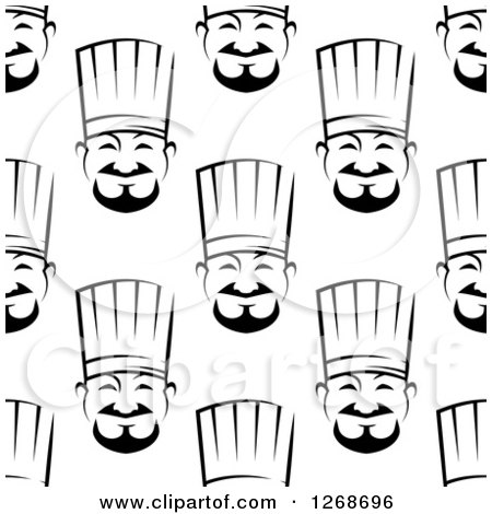 Clipart of a Seamless Background Pattern of Black and White Asian Chef Faces - Royalty Free Vector Illustration by Vector Tradition SM