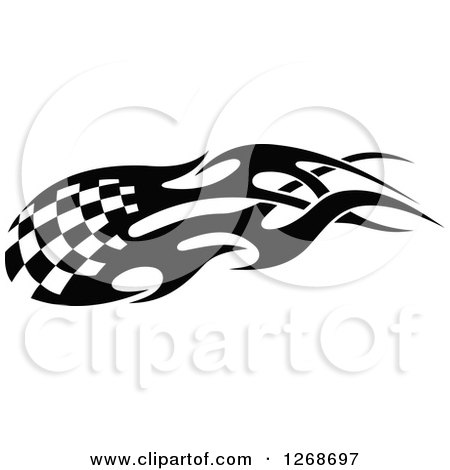 Clipart of a Black and White Flaming Checkered Tribal Racing Flag - Royalty Free Vector Illustration by Vector Tradition SM