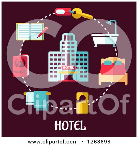 Clipart of a Hotel in a Circle of Travel Items on Maroon - Royalty Free Vector Illustration by Vector Tradition SM