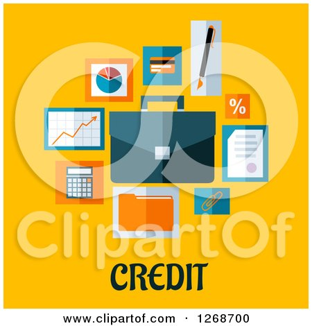 Clipart of Business and Finance Icons over Credit Text on Yellow - Royalty Free Vector Illustration by Vector Tradition SM