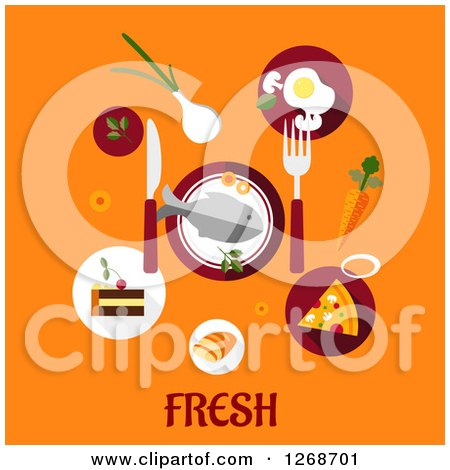 Clipart of Food over Fresh Text on Orange - Royalty Free Vector Illustration by Vector Tradition SM