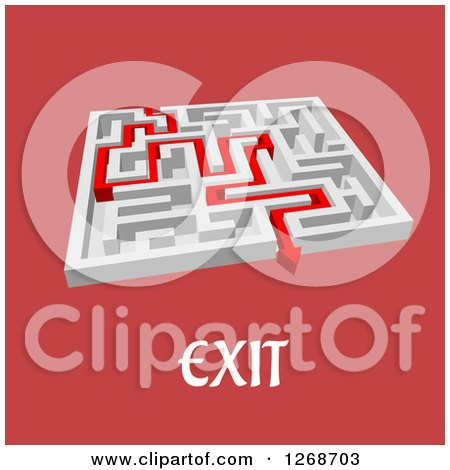 Clipart of a 3d White Maze with a Red Arrow Leading to the Exit with Text - Royalty Free Vector Illustration by Vector Tradition SM