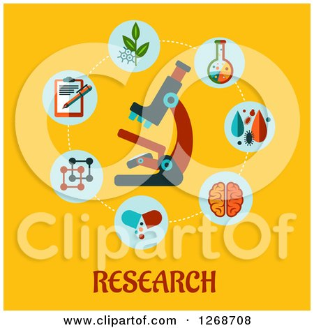 Clipart of a Microscope in a Circle of Medical Items over Text on Yellow - Royalty Free Vector Illustration by Vector Tradition SM