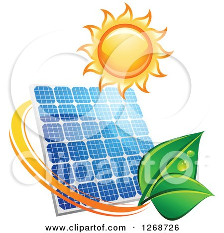 Clipart of a Sun over a Solar Panel Encircled with a Swoosh and Green Leaves - Royalty Free Vector Illustration by Vector Tradition SM