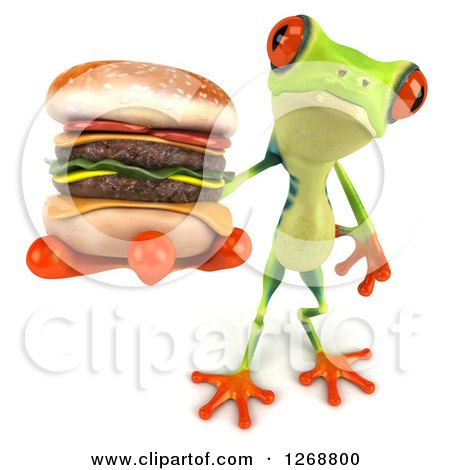 Clipart of a 3d Argie Frog Holding out a Double Cheeseburger - Royalty Free Illustration by Julos