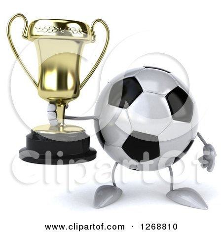Clipart of a 3d Soccer Ball Character Holding a Trophy - Royalty Free Illustration by Julos