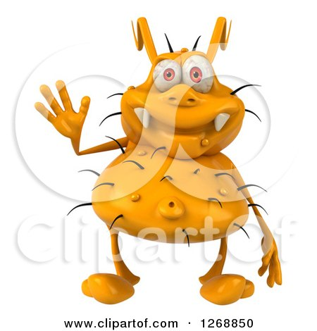Clipart of a 3d Yellow Germ Waving - Royalty Free Illustration by Julos