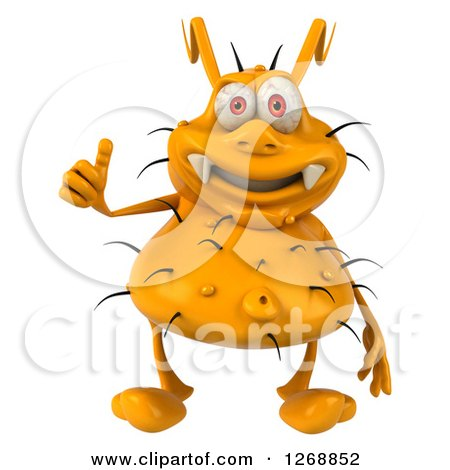 Clipart of a 3d Yellow Germ Giving a Thumb up - Royalty Free Illustration by Julos