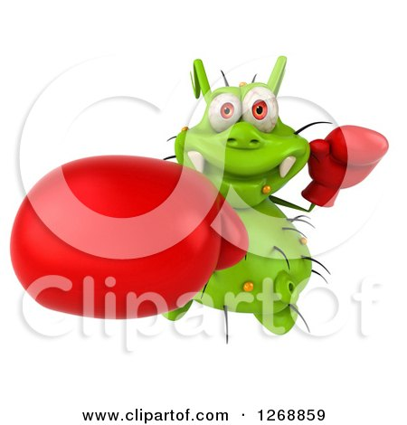 Clipart of a 3d Green Germ Wearing Boxing Gloves and Punching - Royalty Free Illustration by Julos