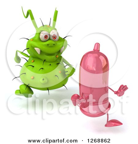 Clipart of a 3d Green Germ Chasing a Pink Condom - Royalty Free Illustration by Julos