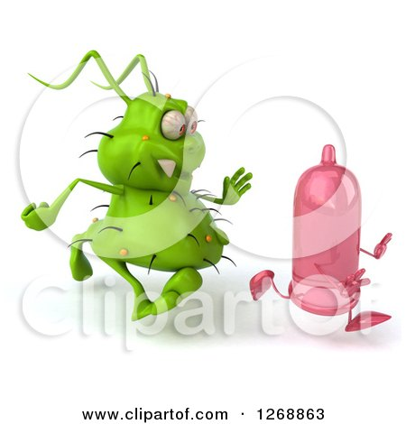 Clipart of a 3d Green Germ Chasing a Pink Condom 2 - Royalty Free Illustration by Julos