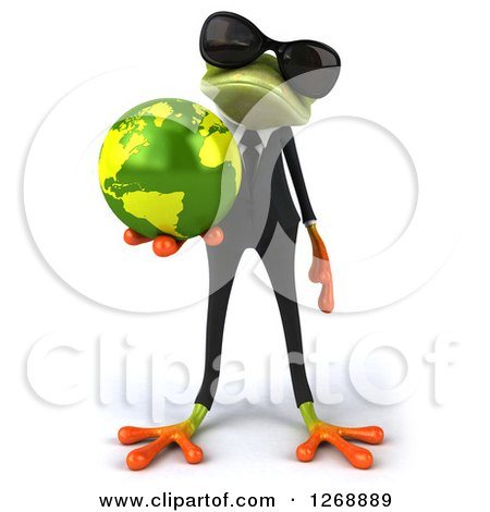 Clipart of a 3d Green Business Springer Frog Wearing Sunglasses and Holding out Planet Earth - Royalty Free Illustration by Julos
