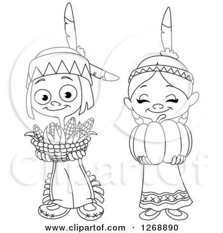 Clipart of a Black and White Happy Cute Native American Indian Boy Holding a Basket of Thanksgiving Corn - Royalty Free Vector Illustration by yayayoyo