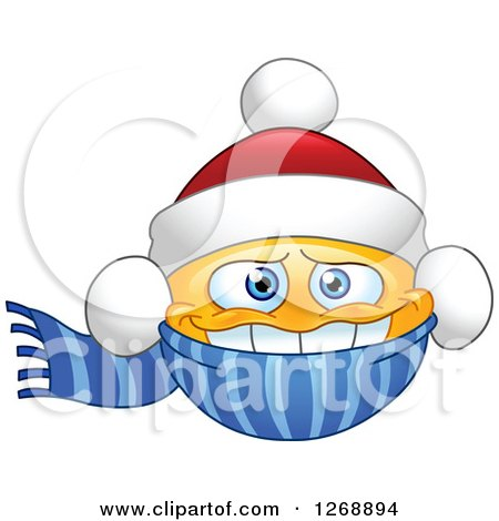 Clipart of a Cold Smiley Emoticon Bundled in a Christmas Santa Hat and Scarf - Royalty Free Vector Illustration by yayayoyo