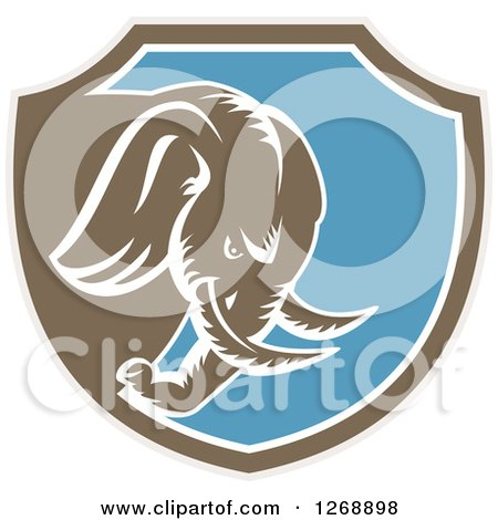 Clipart of a Retro Woodcut Charging Elephant in a Taupe Brown White and Blue Shield - Royalty Free Vector Illustration by patrimonio