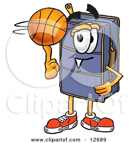 Clipart Picture of a Suitcase Cartoon Character Spinning a Basketball on His Finger by Toons4Biz
