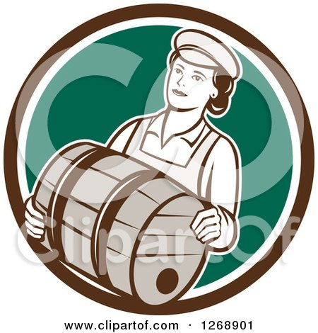Clipart of a Retro Female Bartender Carrying a Beer Keg Barrel in a Brown White and Green Circle - Royalty Free Vector Illustration by patrimonio