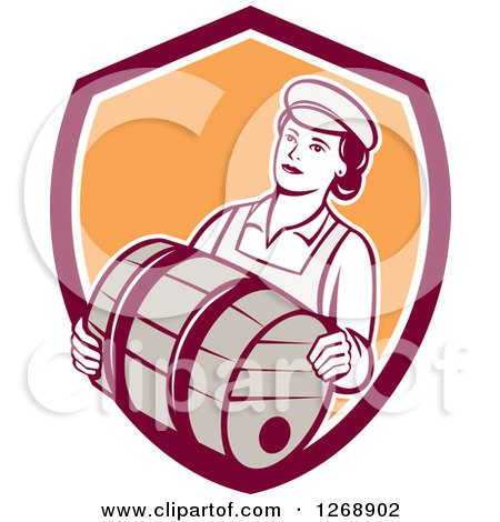 Clipart of a Retro Female Bartender Carrying a Beer Keg Barrel in a Shield - Royalty Free Vector Illustration by patrimonio