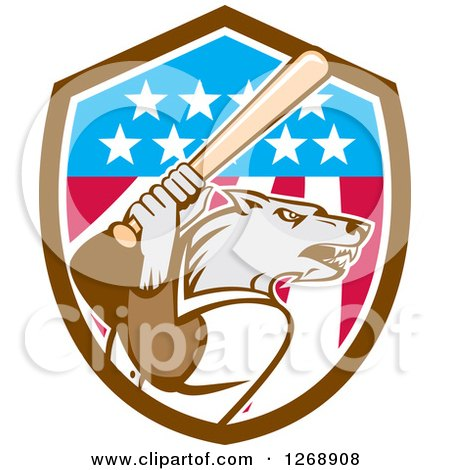 Clipart of a Baseball Wolf Batting in an American Flag Shield - Royalty Free Vector Illustration by patrimonio