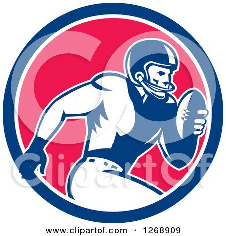 Clipart of a Retro Running American Football Player in a Blue White and Pink Circle - Royalty Free Vector Illustration by patrimonio