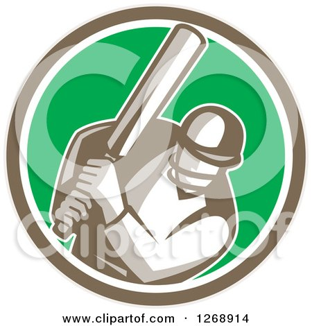 Clipart of a Retro Cricket Batsman Player in a Brown White and Green Circle - Royalty Free Vector Illustration by patrimonio