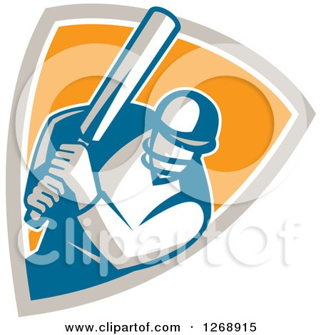 Clipart of a Retro Cricket Batsman Player in a Taupe White and Orange Shield - Royalty Free Vector Illustration by patrimonio