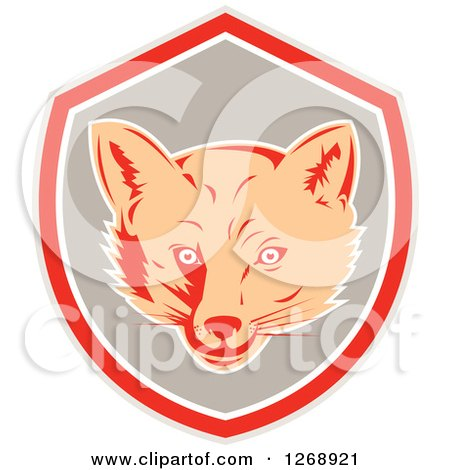 Clipart of a Retro Fox Face in a Gray Red and White Shield - Royalty Free Vector Illustration by patrimonio