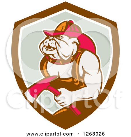 Clipart of a Retro Bulldog Fireman Holding an Axe in a Brown White and Gray Shield - Royalty Free Vector Illustration by patrimonio