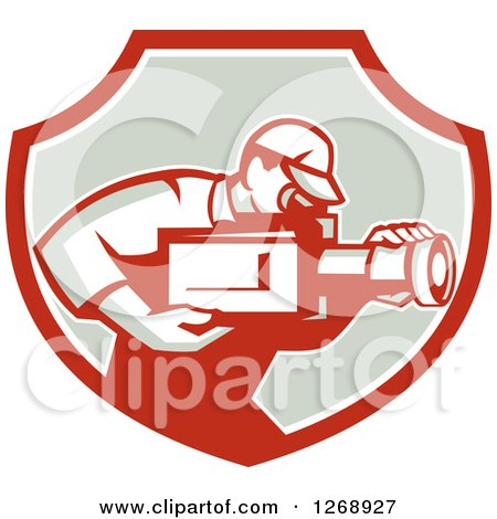 Clipart of a Retro Cameraman Filming in a Red White and Taupe Shield - Royalty Free Vector Illustration by patrimonio