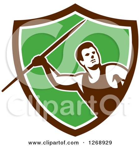 Clipart of a Retro Male Track and Field Javelin Thrower in a Brown White and Green Shield - Royalty Free Vector Illustration by patrimonio