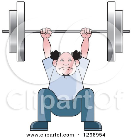 Clipart of a Senior Man Squatting and Lifting a Barbell over His Head - Royalty Free Vector Illustration by Lal Perera