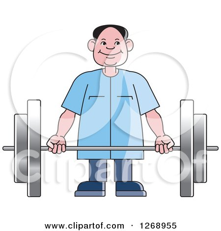 Clipart of a Happy Senior Man Working out with a Barbell - Royalty Free Vector Illustration by Lal Perera