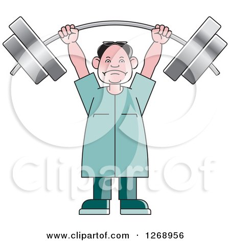 Clipart of a Senior Man Lifting a Heavy Barbell over His Head - Royalty Free Vector Illustration by Lal Perera